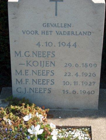 Graf van Maria Neefs-Koijen en haar drie kinderen