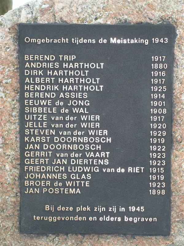 Glimmen, 'Monument Slachtoffers Meistaking 1943'